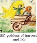 Sif, goddess of harvest, and Þór