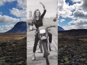 Gudrun Kristin Magnusdottir on her motorbike