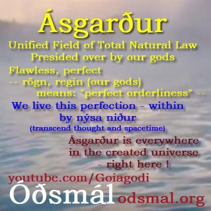 Ásgarður (ás-garður) can be seen as The Unified Field of Total Natural Law