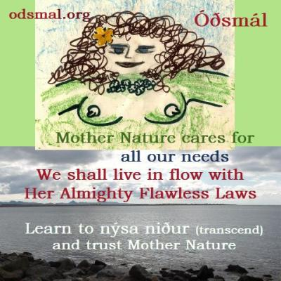 Mother Nature cares for all our needs. We shall live in flow with Her Almighty Flawless Laws. Learn to nýsa nður and trust Mother Nature