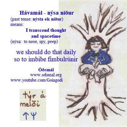Hávamál - nýsa niður - transcend thought and space-time - imbibe fimbulrúnir