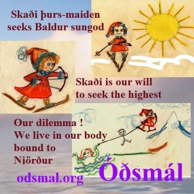 Skaði þurs-maiden seeks Baldur sun-god. Skaði is our will to seek the highest