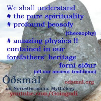 We shall understand the pure spirituality, profound theosophy and amazing physics contained in our forefathers heritage - forni siður