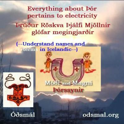Everything about Þór pertains to electricity. Þrúður, Röskva, Þjálfi, Mjöllnir, glófar, megingjarðir