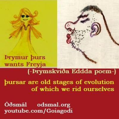 Þrymur þurs wants Freyja. Þursar are old stages of evolution of which we rid ourselves