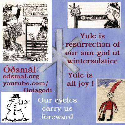 Yule is resurrection of our sun-god at winter solstice. Our cycles carry us forward. Yule is all joy