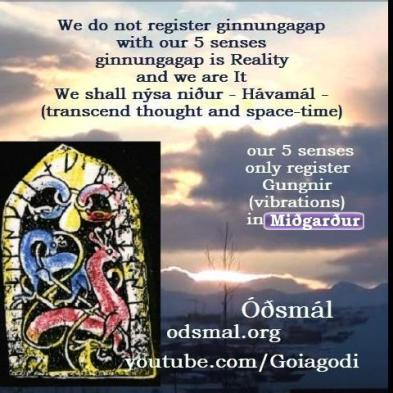We do not register ginnungagap with our 5 senses. Our five senses only register Gungnir (vibrations) in Miðgarður